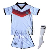 2014 World Cup Germany home white baby Kids Youth jersey Kits with Sock,2014 children soccer uniforms+Socks Free ship ePacket