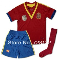 ^_^13-14 Spain Home red Kids/youth Uniforms with socks,2014 children football jerseys+shorts+socks free ship ePacket