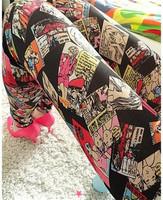 Женские носки и Колготки BS235 Adventure Time Cartoon Graffiti Space Leggings Colorful Girl High Quality American Apparel Women's Pants Stock