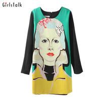 2014 spring doodle head portrait print one-piece dress personality color block plus size basic dress