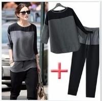 New 2014  European leg chiffon stitching loose bat sleeve round neck T-shirt Women leisure suit,Free shipping