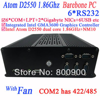 barebone mini pc with 6 COM 2 RJ45 network card Intel Atom dual-core D2550 1.86GHz VGA HDMI dual channel 24bit  LVDS display