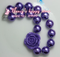 Free shipping!2PCS/Lot purple pearl kid/child bubblegum bead chunky necklace 16 wholesale/Retail for Girls jewelry!