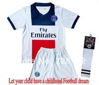 ^_^13-14 Paris saint German away White Kids/youth Uniform+sock,2014 PSG children football jerseys+shorts+socks free ship ePacket
