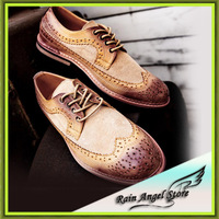 new 2014 spring  vintage carve patterns brush genuine leather  men oxford shoes Brogues