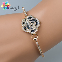 2014 New Design High Quality  Black Rose With Rhinestone Gold Bangle Bracelets For Women [3263-A31]