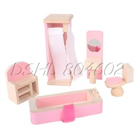 Adorable Dollhouse Furniture Wooden Bathroom Room Toy Decorating Kids Playing