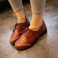 2014 spring single shoes female flat heel fashion small leather female preppy style lacing casual vintage women's shoes