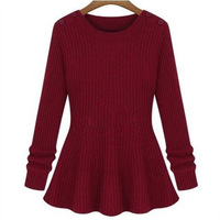 Autumn and winter slim medium-long long-sleeve sweater basic knitted sweater dress shirt