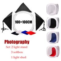 Free shipping +  Commercial photography set ,2 pcs light stand,3pcs softbox,1pcs 100cm light shed,Photo Studio set