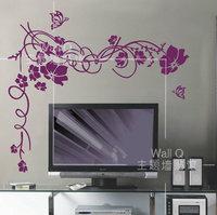 Fashion vintage flower vine flower wall stickers tv cutout wall stickers glass stickers b0210