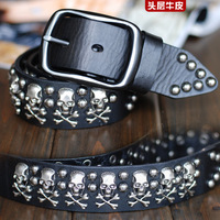 Free Shipping Cool skull punk rivets Men's first layer of leather genuine leather genuine leather strap belt 028003