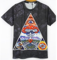 New 2014 Men's Women's Blouses Brand Clothing T-Shirt 3D Animal Harajuku Tie-Dye T Shirt Triangular Figure Printed Casual TShirt