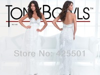 Sexy See Through Prom Dresses 2014 Open Back White Lace Formal Evening Long Dress Crystal Party Gowns