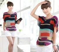 New 2014 women blouses shirt Multi-colour print Stripe Loose Short Sleeve Chiffon Shirt casual plus size  blusas femininas