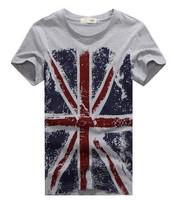 2014 new fashion British style  torx flag pattern o-neck casual t-shirt male short-sleeve ,Men's t shirt ,size 3XL