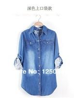 2014 spring new Korean Slim washed denim loose long-sleeved blouse