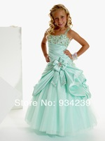 Straps Floor Length Tulle A Line Girls Pageant Dress With Pick Ups