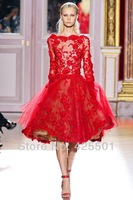2014 New Arrival Fashion Design Long Sleeve Lace Applique Red Short Party Evening Gown Dresses