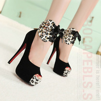 Two ways shoes 2014 single shoes women's shoes high-heeled shoes thin heels open toe sandals leopard print fashion