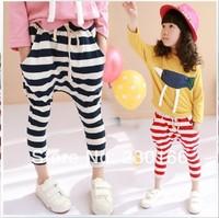 Hot Sale Spring / Autumn Classic Kids Girls Harem Pants Classical Striped Nine Pants Children Girls Clothes 90-130cm K2014037
