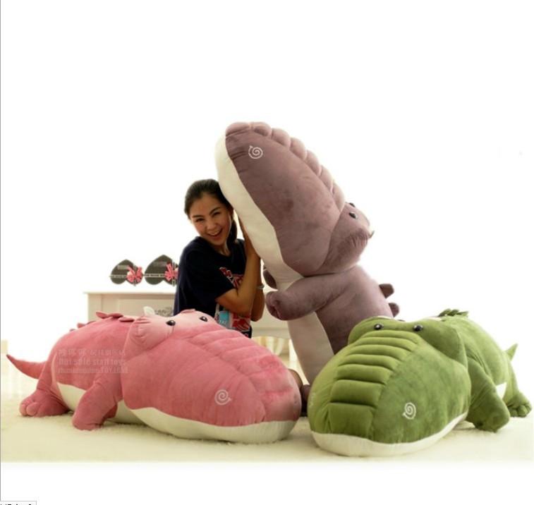 Free shipping,New arrival cute plush crocodile dolls stuffed animal toys 55cm size big colorful alligator pillow toys HT010(China (Mainland))