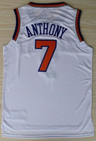 Carmelo Anthony White Jersey New York #7 Stitched Men's Basketball Jersey wholesale&retail top quality New Material