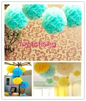 "Free shipping-10pcs 38cm (15"") Blue Tissue Paper Pom Poms Wedding Party Decor Flower Balls For Living Room Decor-20 Colors"