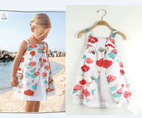 British style 2014 summer fashion high quanlity baby girl dress princess print knee-length sleeveless kids dresses for girls
