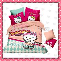 Hello kitty Cotton Children 3pcs Bedding Set Pink Kid Single Bed Size Free Shipping