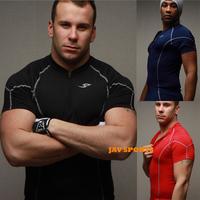 Elastic slim fit bodybuilding quick-drying sports t-shirts casual shirt men+Free shipping(SKU12050252)