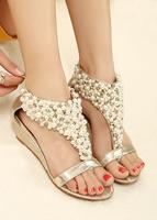 Free shipping!beaded pearl flip-flop t gold gentlewomen wedges sandals rhinestone high heels eu35-39 women shoes spring summer