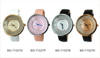 New BBD-71027 Fashion Texture Leather Rhinestone Watch Big Dial Luminous Hands Quartz Watch Waterproof For Office Ladies Girls