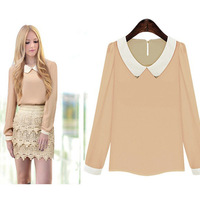 Small fresh fashion doll chiffon shirt collar long-sleeved T-shirt