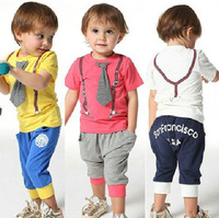 EuropeStyle new 2014 summer fashion sport baby boys clothing set cartoon cotton T-shirt + pants high quanlity kids clothes sets