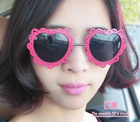New Arrival summer UV sunglasses women / Personality cool lace Heart-shaped metal sun glasses / Sweet  Red Dark Blue Black