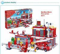 learning & education Banbao Fire series 8311 City Fire Department 702pcs Building Block Set Boys Bricks Toy Lego compatible