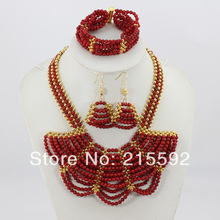 Luxury Handmade Red Coral Beads Jewelry Set Fashion African Costume Jewelry Sets CJ009