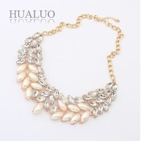 2014 New Fashion Elegant Delicate Acrylic Leaf-shaped Imitation Pearl Gemstone Choker Necklace For Women N1593