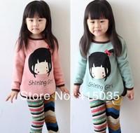2014 NEW Spring Autumn Kids Tops Cartoon Long Sleeves T shirt Children Girls t shirt /kids t shirt / 5PCS/1lot /Free shipping