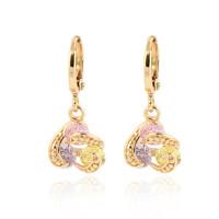 Fashion 18K Gold Plated CZ Flower Drop Earrings