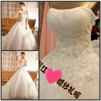 Romantic Chic Strapless Sleeveless Princess White Bowknot Flower Lace Up Wedding Dress Crystal Bridal Gown(XNE-WD007)