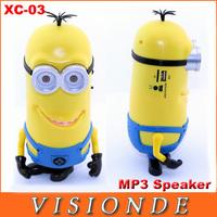 Brasil Frete gratis XC-03 New Devise Good Quality Minions Mini Portable Speaker USB Card Reader MP3 Fm Radio Speakers  - Yellow