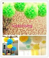"Free shipping-10pcs 38cm (15"") Apple Green Tissue Paper Pom Poms Wedding Party Decor Flower Balls For Living Room -20 Colors"