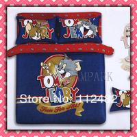 Tom & Jerry Cotton Children 3pcs Bedding Set Pink Kid Single Bed Size Free Shipping