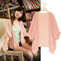 plus size half sleeve no button thin outerwear cape sun protection clothing chiffon shirt cardigan