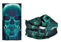 Free shipping Green Skull Ski Face Mask Skiing Sport Motorcycle Biker Scarf 2pcs/lot