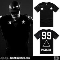 black boy place problems 99 2014 New brand PU leather sleeve tshirt men's clothing short-sleeve 100% cotton causal tee shirt