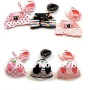 FREE SHIPPING! Dog Harness Leash Pet Dog Collar Lead Drawberry Clothes Pet S M L Pink Black Wholesale MOQ 10pcs/lot