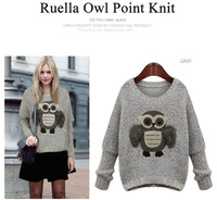 Hotsale ! 2014 Newest Spring Western Women's  Sweater ,O-neck with owl Embroidery,Free Size,